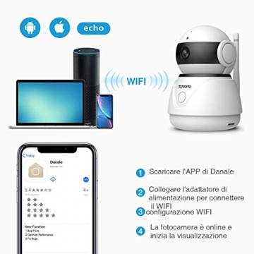 Topcony Telecamera di Sorveglianza 1080P interno telecamera ip,Connessione WiFi stabile ip camera, Chip aggiornato, 10m HD Visione Notturna, Two-ways Audio anti-rumore, Smart Motion Detection - 7