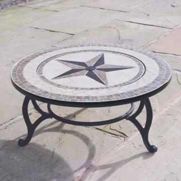 Trueshopping - Tavolino rotondo da giardino con braciere integrato Beacon Star, con griglia per barbecue, rete di protezione e copertura anti-intemperie, diametro 76,2 cm - 2