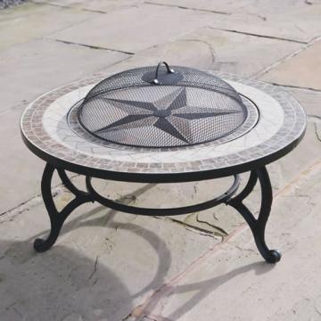 Trueshopping - Tavolino rotondo da giardino con braciere integrato Beacon Star, con griglia per barbecue, rete di protezione e copertura anti-intemperie, diametro 76,2 cm - 4