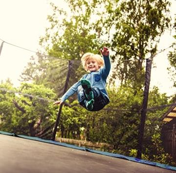 Ultrasport Trampolino da giardino Jumper, set trampolino per Il Salto inclusi tappeto elastico, rete di sicurezza, pali della rete imbottiti e rivestimento dei bordi, fina a 160kg, Blu, Ø 305 cm - 3