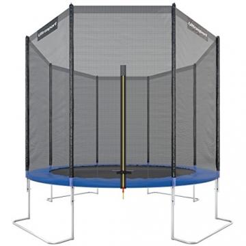 Ultrasport Trampolino da giardino Jumper, set trampolino per Il Salto inclusi tappeto elastico, rete di sicurezza, pali della rete imbottiti e rivestimento dei bordi, fina a 160kg, Blu, Ø 305 cm - 1