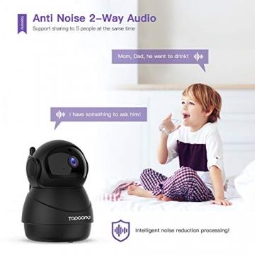 [Versione Aggiornata] Topcony 1080P HD Telecamera IP di videosorveglianza con Wi-Fi, telecamera wifi interno, IP camera connessione WiFi stabile, Two-Ways Audio di antirumore, Motion Detection - 3
