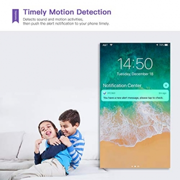 [Versione Aggiornata] Topcony 1080P HD Telecamera IP di videosorveglianza con Wi-Fi, telecamera wifi interno, IP camera connessione WiFi stabile, Two-Ways Audio di antirumore, Motion Detection - 4