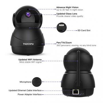 [Versione Aggiornata] Topcony 1080P HD Telecamera IP di videosorveglianza con Wi-Fi, telecamera wifi interno, IP camera connessione WiFi stabile, Two-Ways Audio di antirumore, Motion Detection - 7