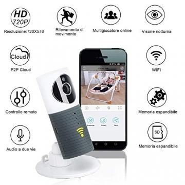 Videocamera di Sorveglianza Wifi Telecamera IP Cam Baby Monitor a infrarossi con Visione Notturna e Rilevatore Movimento Citofono a due vie Per iOS/Android - 2