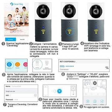 Videocamera di Sorveglianza Wifi Telecamera IP Cam Baby Monitor a infrarossi con Visione Notturna e Rilevatore Movimento Citofono a due vie Per iOS/Android - 3