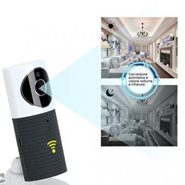 Videocamera di Sorveglianza Wifi Telecamera IP Cam Baby Monitor a infrarossi con Visione Notturna e Rilevatore Movimento Citofono a due vie Per iOS/Android - 5