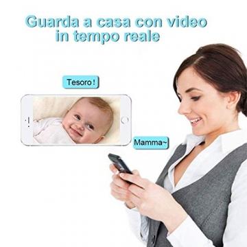 Videocamera di Sorveglianza Wifi Telecamera IP Cam Baby Monitor a infrarossi con Visione Notturna e Rilevatore Movimento Citofono a due vie Per iOS/Android - 6
