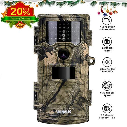 WiMiUS Fotocamera da Caccia, 20MP 1080P(30FPS) Fototrappola con 940nm Di Luce Invisibile, Macchine Fotografiche Da Caccia con 0.2s Trigger Speed Fino a 70ft, Impermeabile Telecamera - 1