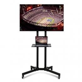 Yaheetech Carrello Supporto Porta TV con Ruote a Terra con Ripiano per Monitor TV LCD LED Plasma da 32 Pollici a 65 Pollici, VESA da 200x200 mm a 600x400 mm, Altezza e Angolo Regolabile - 1