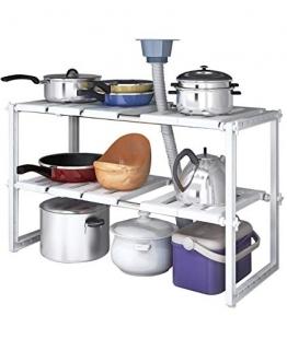 YOMYM Scaffale da Cucina, Scaffale Sottolavello/Stoviglie/Lavandino, Mensola Regolabile/Modulabile, Salvaspazio (A10) - 1
