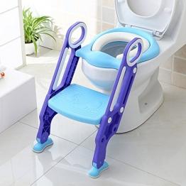 BAMNY Riduttore WC per Bambini con Scaletta Pieghevole, Kit Toilette Trainer Step Up con Cuscino Tenero Modello Universale (Azzuro) - 1