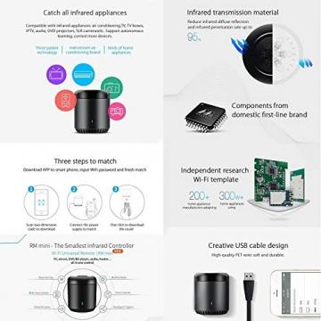 BroadLink Mini 3 - Telecomando universale SmartHome a infrarossi con Wi-Fi per iPhone/Android Phone, compatibile con Alexa, Google Home e IFTTT - 16