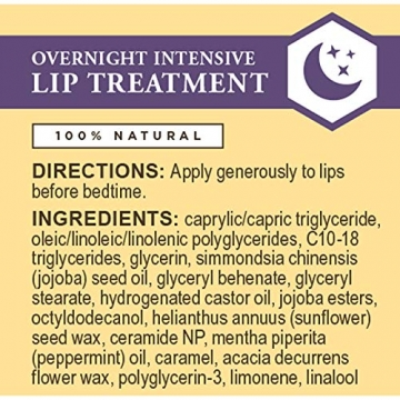 Burt Bees 100% natural overnight lip trattamento intensivo, ultra-conditioning lip Care, 7.08g - 8