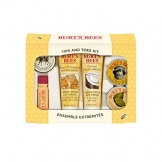 Burt's Bees, Kit da regalo per mani e piedi, incl. 1 crema per cuticole al limone (8,5 g), 1 balsamo per le mani (8,5 g), 1 crema per i piedi al cocco (20 g), 1 crema per le mani al miele e vinaccioli (20 g) e 1 al latte e alle mandorle (7 g), 1 balsamo labbra all'olio di melograno (4,25 g) - 1