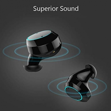 Cuffie Bluetooth TWS, MIFA Auricolari Wireless Bluetooth V5,0 Senza Fili in Ear da corsa Noise Cancelling TWS Headset, microfono incorporato, custodia di ricarica portatile, Siri supportati, Nero - 2