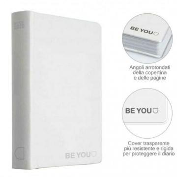DIARIO SCUOLA Be You Be-u Be Yourself Pocket Bianco 2019/2020 Penna segnalibro portachiave girabrilla - 3