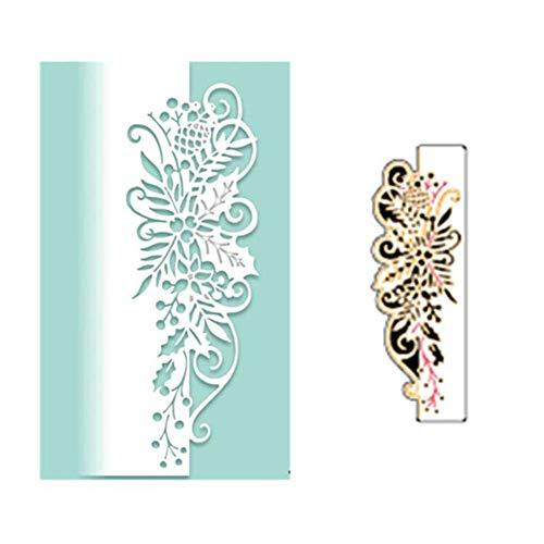 Fustelle in metallo per fai da te, scrapbooking, bordi di fiori, fustelle in metallo per fai da te, album di ritagli, stencil, colore argento - 1