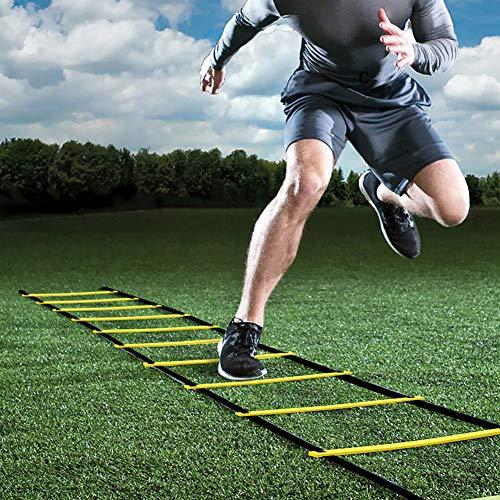 GHB 6M Scala Agilità Scaletta per Allenamento Calcio Esercizio velocità Fitness 12 Piolo con Custodia Portatile Regolabile - Giallo - 1