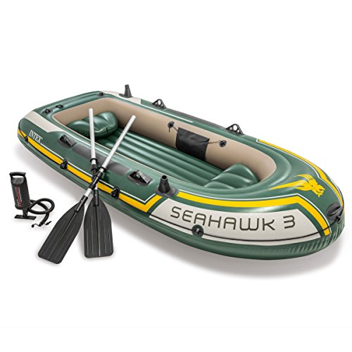 INTEX Seahawk 3, 3-Person Inflatable Boat Set with Aluminum Oars And High Output Air Pump (Latest Model) - 1