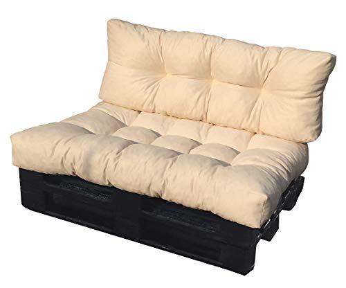 ValoreItalia Cuscino per Bancale Divano Pallet 80X120 Seduta e Schienale in Microfibra per Bancali (Beige) - 1