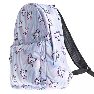 borsa unicorno, Kfnire 3D unicorno stampa multi color arcobaleno unicorno zaino, borsa college scolastica per studenti adolescenti (unicorno) - 2