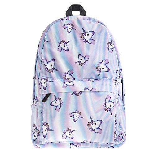 borsa unicorno, Kfnire 3D unicorno stampa multi color arcobaleno unicorno zaino, borsa college scolastica per studenti adolescenti (unicorno) - 1