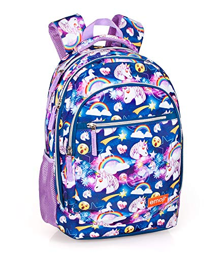 Emoji Unicorno 30873 Zaino 3 Zip, 45 Centimetri, Poliestere, Multicolore - 1