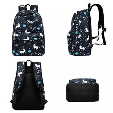 FEWOFJ Tela Zaino Casual Scuola Zaini Donna Ragazza Backpack Zainetto 3 in 1 Zaini + Borsa a tracolla + Astuccio (Nero Unicorno) - 3