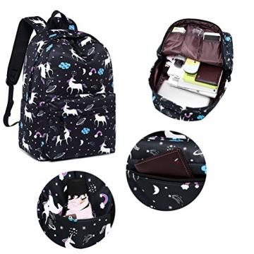 FEWOFJ Tela Zaino Casual Scuola Zaini Donna Ragazza Backpack Zainetto 3 in 1 Zaini + Borsa a tracolla + Astuccio (Nero Unicorno) - 4