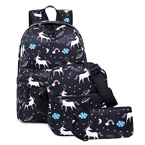 FEWOFJ Tela Zaino Casual Scuola Zaini Donna Ragazza Backpack Zainetto 3 in 1 Zaini + Borsa a tracolla + Astuccio (Nero Unicorno) - 1