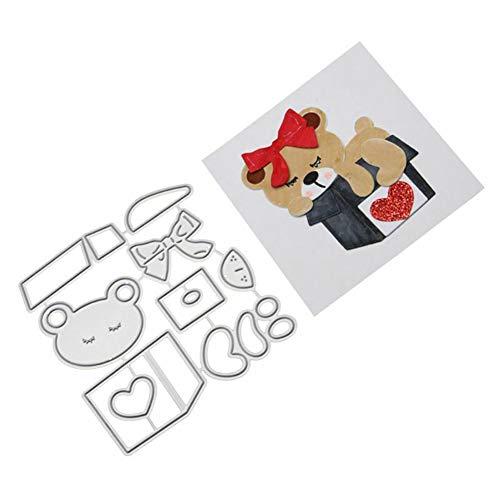 Fustelle in metallo a forma di orsetto per fai da te, scrapbooking, goffratura, biglietti, casa, giardino, cucina, artigianato, album di ritagli, stencil - 1