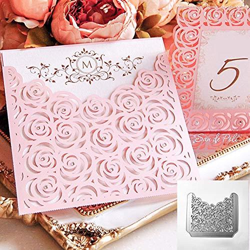 Fustelle per goffratura fai da te, fustelle in metallo a forma di rosa, per fai da te, scrapbooking, goffratura, biglietti di carta, stencil - argento - 1