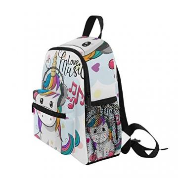 ISAOA Zaino per bambini asilo nido scuola materna per ragazzi/ragazze, Lovely Bookbag Zaini per età 2-8 anni bambino (Unicorno bianco) - 3
