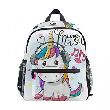ISAOA Zaino per bambini asilo nido scuola materna per ragazzi/ragazze, Lovely Bookbag Zaini per età 2-8 anni bambino (Unicorno bianco) - 1