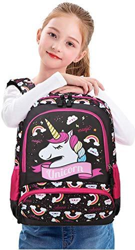 Meisohua Unicorno Zaino Scuola Elementare Impermeabile Zaini Bambino Sacchetti di Scuola Per Ragazze leggero campeggio borse casual Daypacks per adolescenti studenti 3 pezzi Rosa - 2