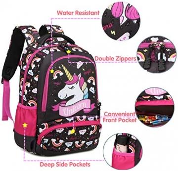 Meisohua Unicorno Zaino Scuola Elementare Impermeabile Zaini Bambino Sacchetti di Scuola Per Ragazze leggero campeggio borse casual Daypacks per adolescenti studenti 3 pezzi Rosa - 3