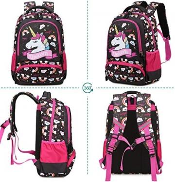 Meisohua Unicorno Zaino Scuola Elementare Impermeabile Zaini Bambino Sacchetti di Scuola Per Ragazze leggero campeggio borse casual Daypacks per adolescenti studenti 3 pezzi Rosa - 6