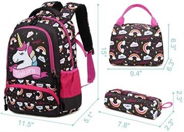 Meisohua Unicorno Zaino Scuola Elementare Impermeabile Zaini Bambino Sacchetti di Scuola Per Ragazze leggero campeggio borse casual Daypacks per adolescenti studenti 3 pezzi Rosa - 7