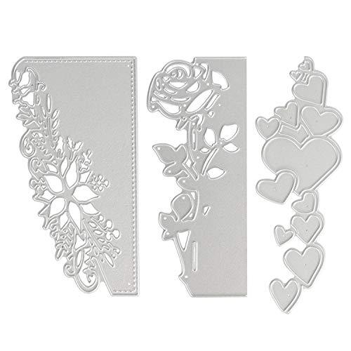 OOTSR 3 Pezzi Taglio del Metallo Muore, Stencil di Taglio per goffratura 3D per Scrapbooking/Creazione di Cartoline/Mestieri Fai da Te, Forma di Fiore Rosa/Cuore/Pizzo - 1