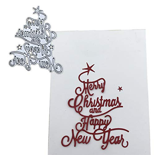 P12cheng Fustelle Metallo Stenci,Buon Natale Felice Anno Nuovo Lettera Die Cuts Stencil per DIY Scrapbooking Carte di Carta Craft Emboss Xmas Card Artigianato Decor Silver - 1
