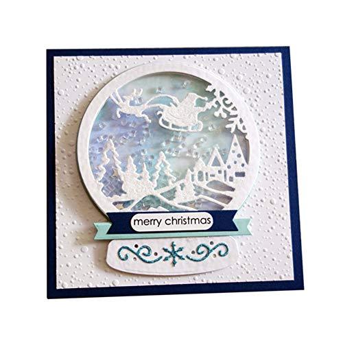 P12cheng Fustelle Metallo Stenci,Slitta di Natale Die Cuts Stencil per DIY Scrapbooking Carte di Carta Craft Emboss Xmas Card Artigianato Decor Silver - 1