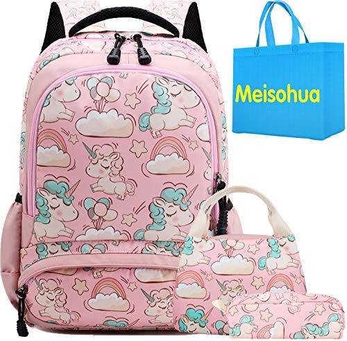 Unicorno Zaino Scuola Elementare Impermeabile Zaini Bambino Sacchetti di Scuola Per Ragazze leggero campeggio borse casual Daypacks per adolescenti studenti 3 pezzi Rosa - 1