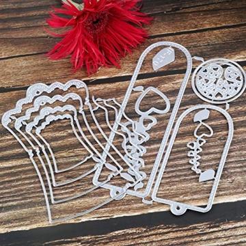 VINFUTUR Fustelle Stencil Cutting Dies per Etichetta Merletto di Busta Cartolina d'Auguri Inviti Fai da Te Scrapbooking Goffratura Carta - 4