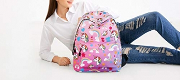 WAWJ Store Unicorno Zaino 2019 Scuola Borse Leggero per Bambini Zaino Casual per Ragazzi Adolescenti Ragazze (Rosa) - 9