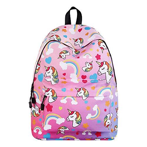 WAWJ Store Unicorno Zaino 2019 Scuola Borse Leggero per Bambini Zaino Casual per Ragazzi Adolescenti Ragazze (Rosa) - 1