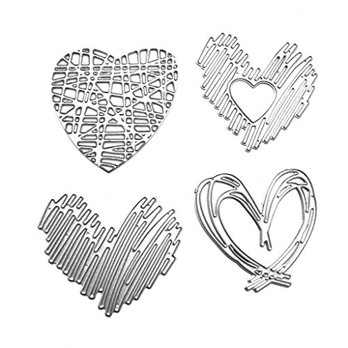 WentingZWT - Set di 4 fustelle in metallo a forma di cuore, per lavori fai da te, scrapbooking, timbri in rilievo, biglietti, decorazioni artigianali - 1