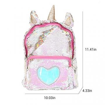 Zaino paillettes, paillettes zaino unicorno zaino carino trendy per bambini scuola scuola zaino ragazza zaino ragazza carina (2) - 2