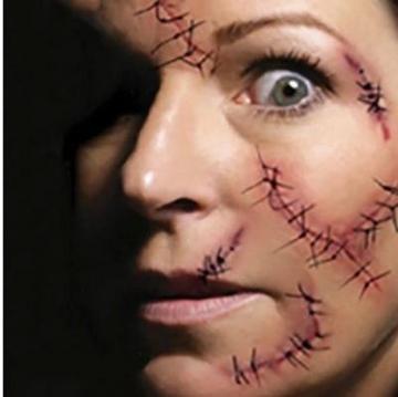 10 fogli I tatuaggi temporanei - Halloween Zombie Scars tatuaggi adesivi con falsi Scab sangue costume speciale puntelli di trucco - 2