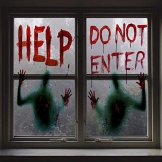 Angshop 2 pezzi Halloween Giant Bloody Window Posters Decorazione per case stregate, Halloween Party Window Clings - 1